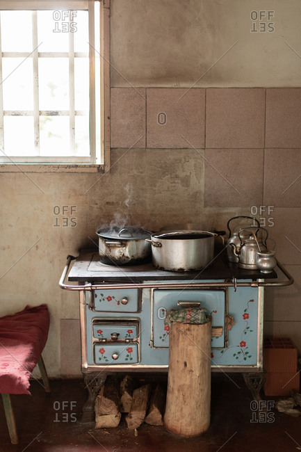 Traditional rural kitchen from Misiones, Argentina with the pots and kettle