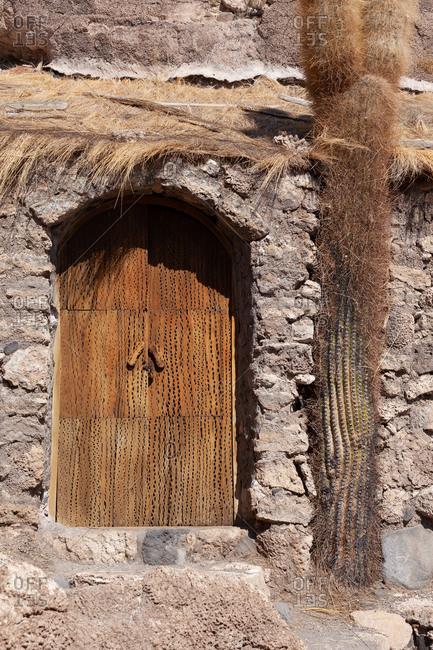 Old door in Uyuni salt-flat in Bolivia, South America
