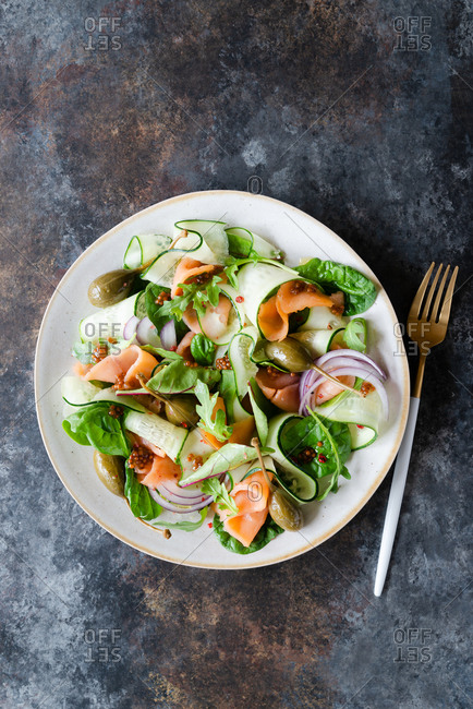 Smoked salmon salad with mustard dressing