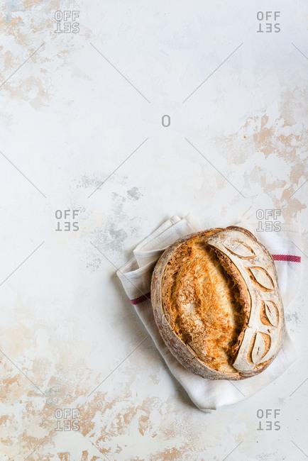 Loaf of freshly baked homemade sourdough bread