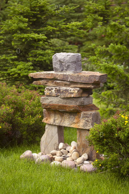 Inuksuk marker by highway in the Canadian Rockies, Jasper National Park, Canada