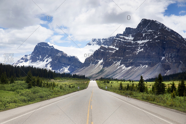 Canada's Icefield Highway between Jasper and Banff National Parks with Bow Mountain in distance