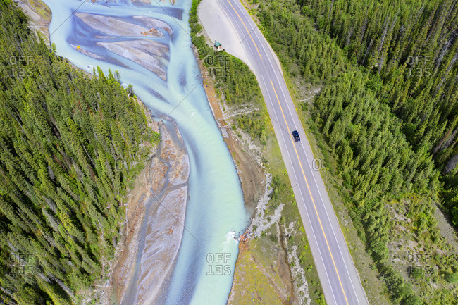 Aerial view of the Crowfoot Glacier at Banff National Park, Alberta, Canada