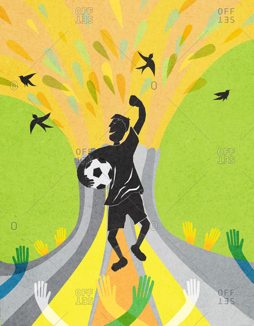 Illustration of a boy cheering while holding a soccer ball