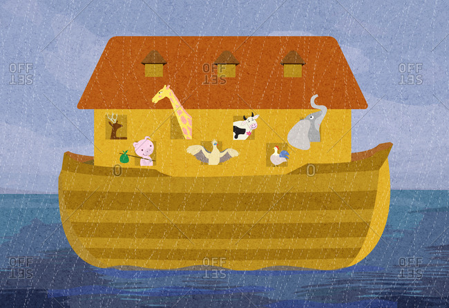 Noah's ark in the rain illustration