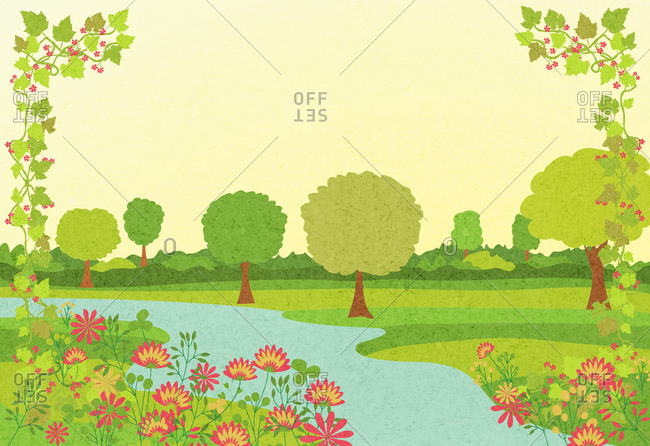 Illustration of a river surrounded by blooming pink flowers and trees