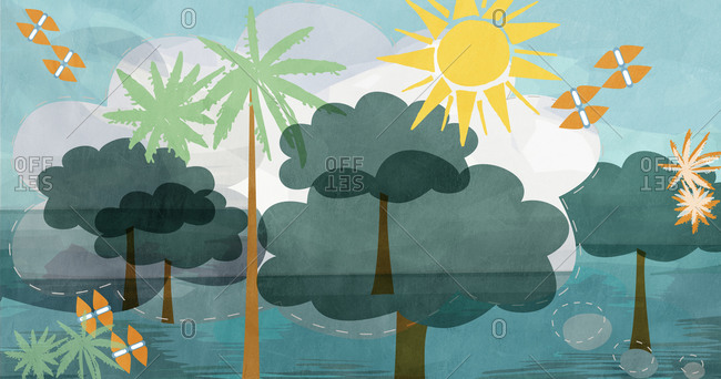 Tropical scenery illustration with trees, water and sunshine
