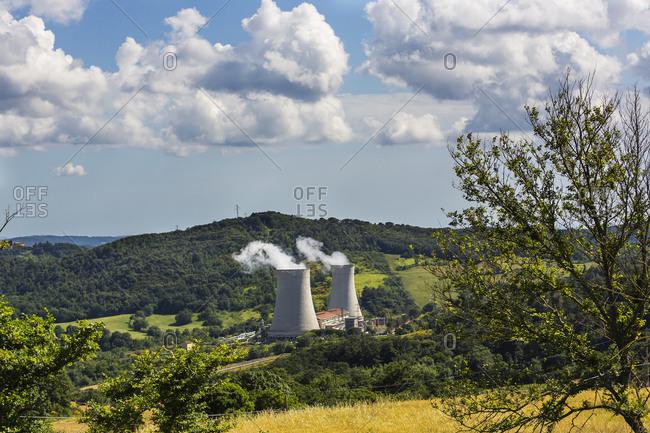 Italy, Toscana (Tuscany), Pomarance . The refrigeration towers of Serrazzano geothermal power plant