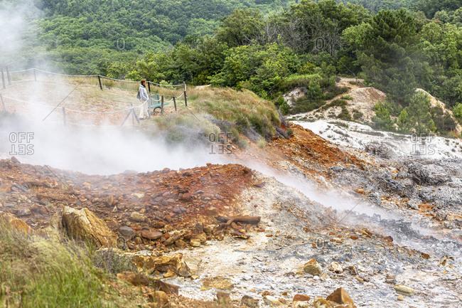 "July 12, 2020: Italy, Toscana (Tuscany), Monterotondo Matittimo . The Parco Naturalistico delle Biancane (Geothermal Natural Park of the ""Biancane"")"