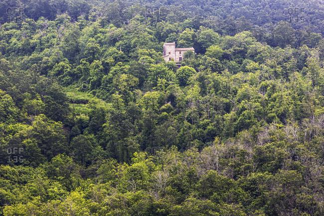 Italy, Toscana (Tuscany), Monterotondo Matittimo . Isolated house in the woods
