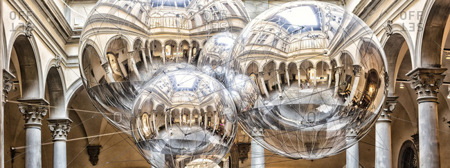 "July 10, 2020: Italy, Toscana (Tuscany), Firenze (Florence) . Palazzo (palace) Strozzi, reflections of Palazzo Strozzi courtyard on the three spheres of ""Thermodynamic Constellation"""