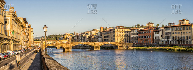 July 12, 2020: Italy, Toscana (Tuscany), Firenze (Florence) . Ponte (bridge) Santa Trinita, Arno river and the Lungarno (riverside)