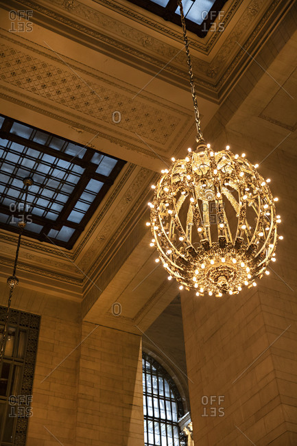 Low angle view of a chandelier in Grand Central Station, Midtown Manhattan, New York City