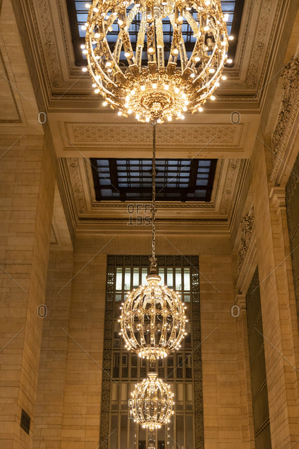 Low angle view of a row of chandeliers in Grand Central Station in Manhattan, New York City