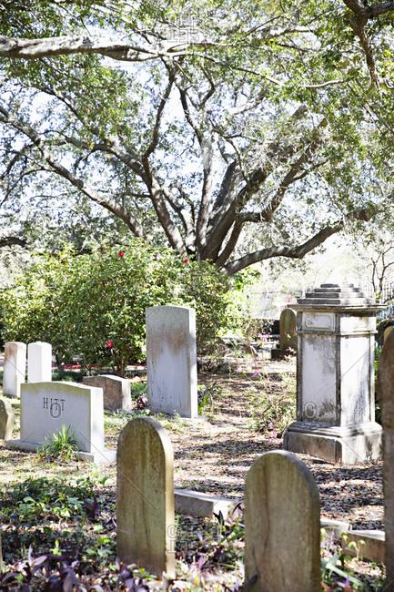Charleston, South Carolina - March 6, 2019: Saint Philip's Episcopal Church Cemetery