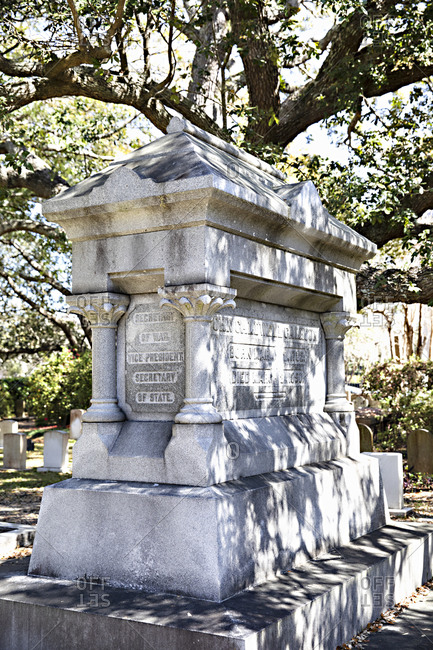 Charleston, South Carolina - March 6, 2019: Large tomb of former Vice President John Caldwell Calhoun at the Saint Philip's Episcopal Church Cemetery