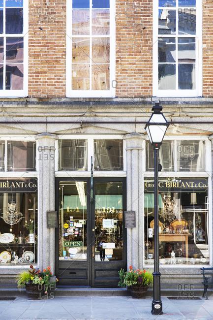 Charleston, South Carolina - March 6, 2019: George C Birlant & Co Antique store