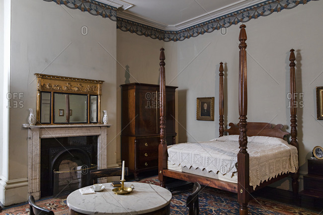 Savannah, Georgia - March 7, 2019: Interior of a bedroom in the Owens�Thomas House & Slave Quarters