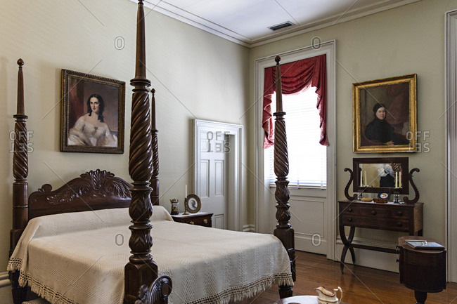 Savannah, Georgia - March 7, 2019: A bedroom interior in the Owens�Thomas House & Slave Quarters
