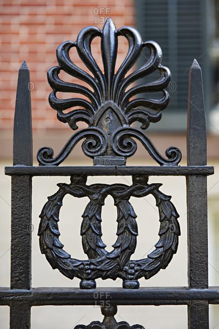 Ornate black iron fence in Savannah, Georgia