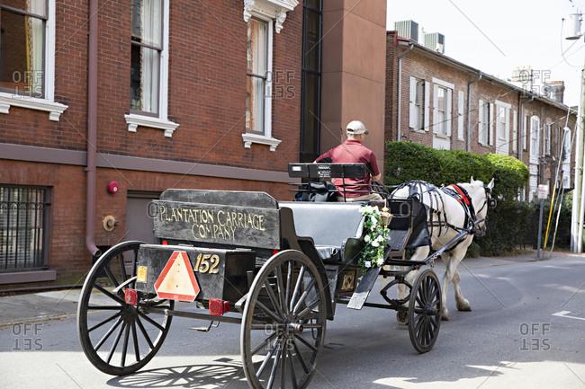 Savannah, Georgia - March 8, 2019: Horse drawn carriage riding through streets of Savannah