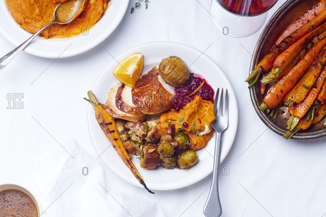Top view of a plate with thanksgiving meal: roasted turkey, cranberry sauce, brussels sprouts and pumpkin puree.