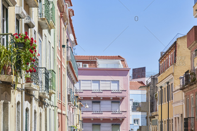 Multicolored facades of apartments in the Lapa neighborhood in Lisbon