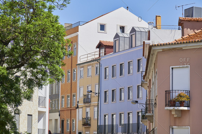 Multicolored apartment buildings in the Lapa neighborhood of Lisbon