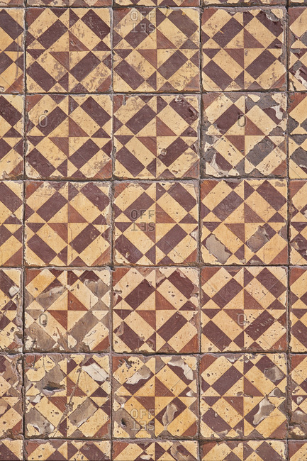 Close-up of brown hand painted decorative tiles, Lisbon, Portugal