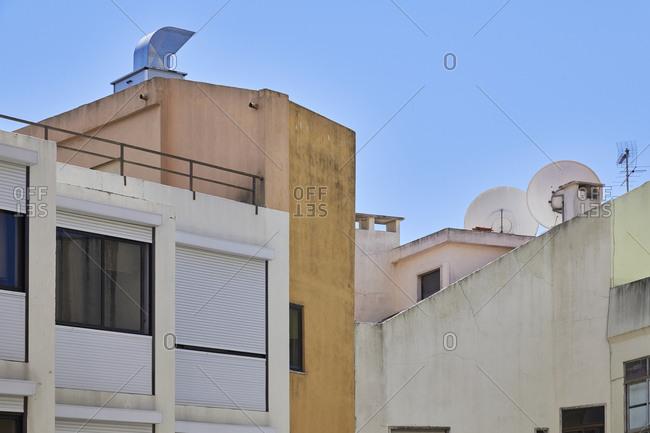 Multicolored apartment buildings in Lisbon, Portugal