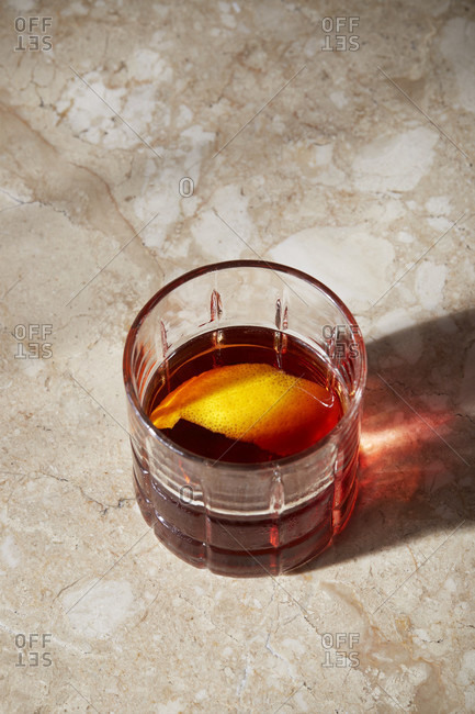 Negroni with a twist of orange peel from above