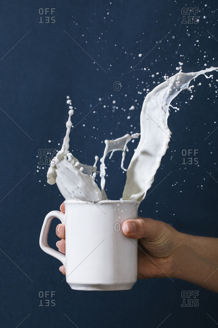 Crop female with mug of splashing milk on blue background in studio