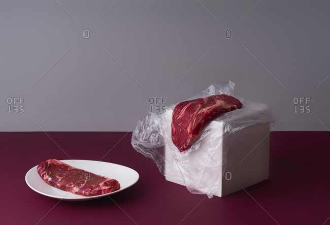 Still life with two beef steaks