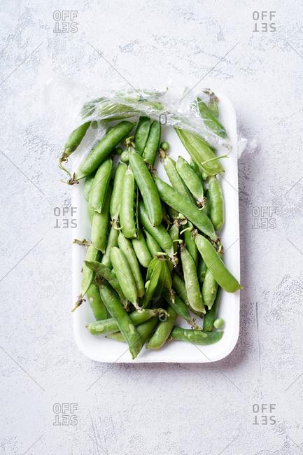 Top view image of sweet peas unpacked