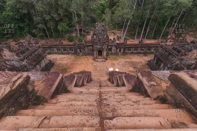 Weathered exterior of historic Angkor Wat complex in Cambodia