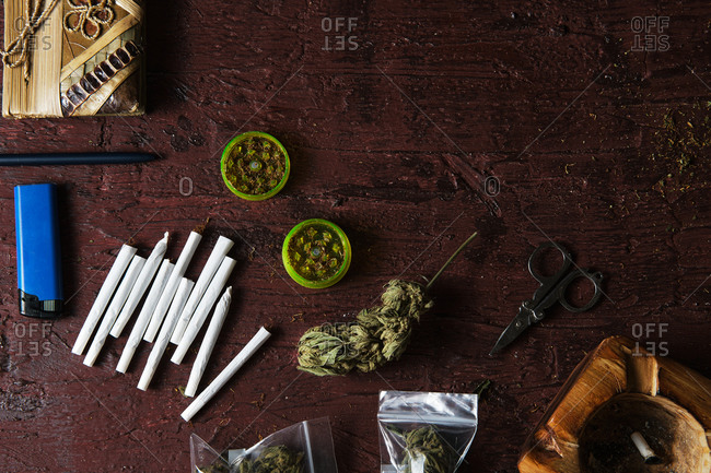 Marijuana buds and cigarettes for making joint