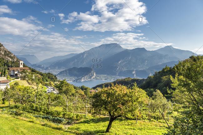 Pregasina, Riva del Garda, Trento Province, Trentino, Italy. View from the village of Pregasina down to Lake Garda with Riva del Garda and Torbole