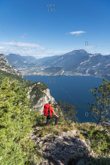 Pregasina, Riva del Garda, Trento Province, Trentino, Italy. Deep view of Lake Garda with the towns of Riva del Garda and Torbole sul Garda