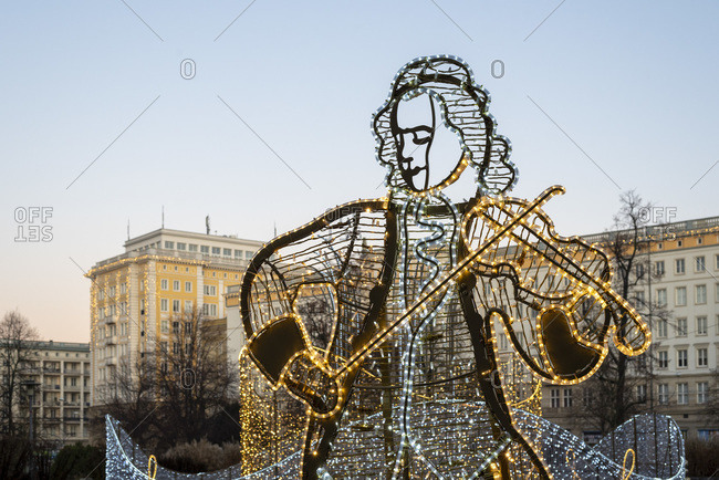 Germany, Saxony-Anhalt, Magdeburg, Christmas light sculpture, composer Georg-Philipp Telemann, world of lights