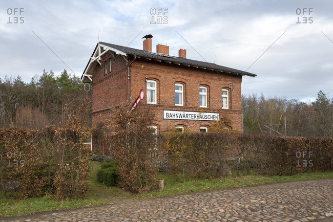 Germany, Saxony-Anhalt, Loitzsche, railway attendant's house, excursion cafe, old train station