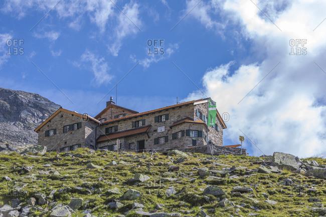 July 19, 2018: Friesenberg Haus, mountain refuge on the Berliner Hohenweg and Peter Habeler Weg in the Zillertal Alps, Mayrhofen,Tyrol, Schwaz district, Austria
