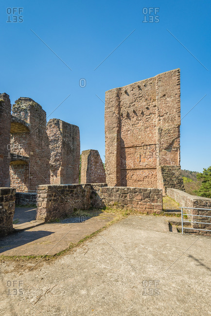 Ramburg castle ruins in the Palatinate (southern Weinstrasse), former Stauferder castle on Schlossberg, with a large rock cellar, neck ditch, shield wall, great hall, surrounded by the Palatinate Forest