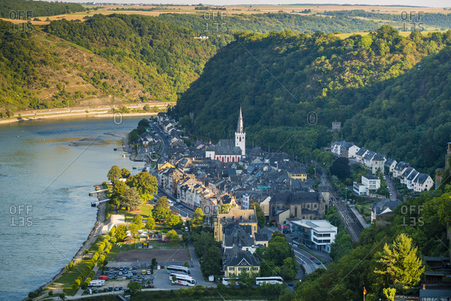 September 11, 2015: St. Goar / St.Goarshausen on the Middle Rhine, evening mood, part of the Unesco World Heritage Upper Middle Rhine Valley