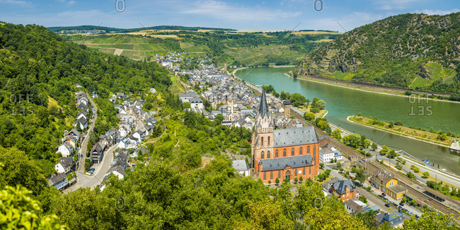 Panorama of Oberwesel on the Middle Rhine, striking through Liebfrauenkirche and a city fortification made of walls and towers