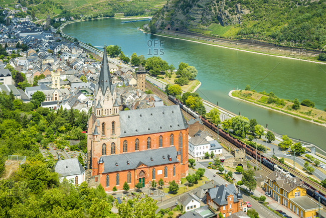 July 7, 2015: Panorama of Oberwesel on the Middle Rhine, striking through Liebfrauenkirche and a city fortification made of walls and towers
