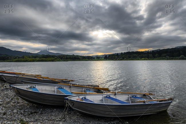 Rowing boats on Gruntensee, Oberallgau, Bavaria, Germany