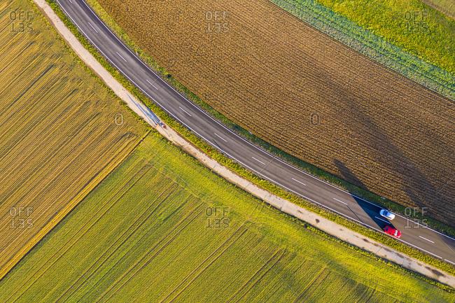 Aerial view street, arable land in autumn, Rems-Murr-Kreis, Baden Wurttemberg, Germany