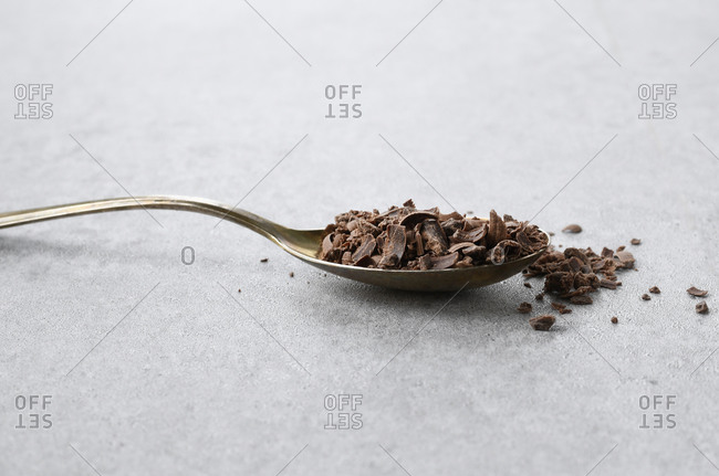 Spoonful of grated milk chocolate