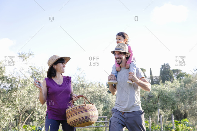 Low angle of cheerful parents with kid smiling and communicating with each other while working in garden on sunny summer day in Tuscany, Italy