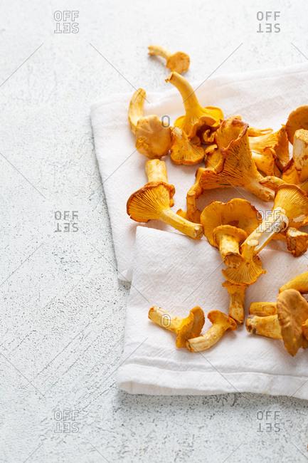 Wild mushrooms on white linen